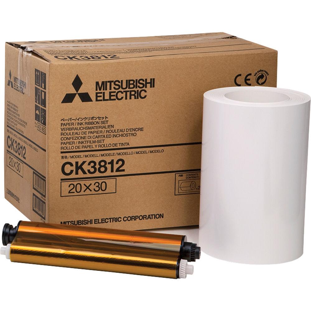 Mitsubishi CK-3812 Papel 2 Rollos + 2 Tintas 20×30 cm (215,9×355 mm) CK3812 para CP-3800DW 220 copias