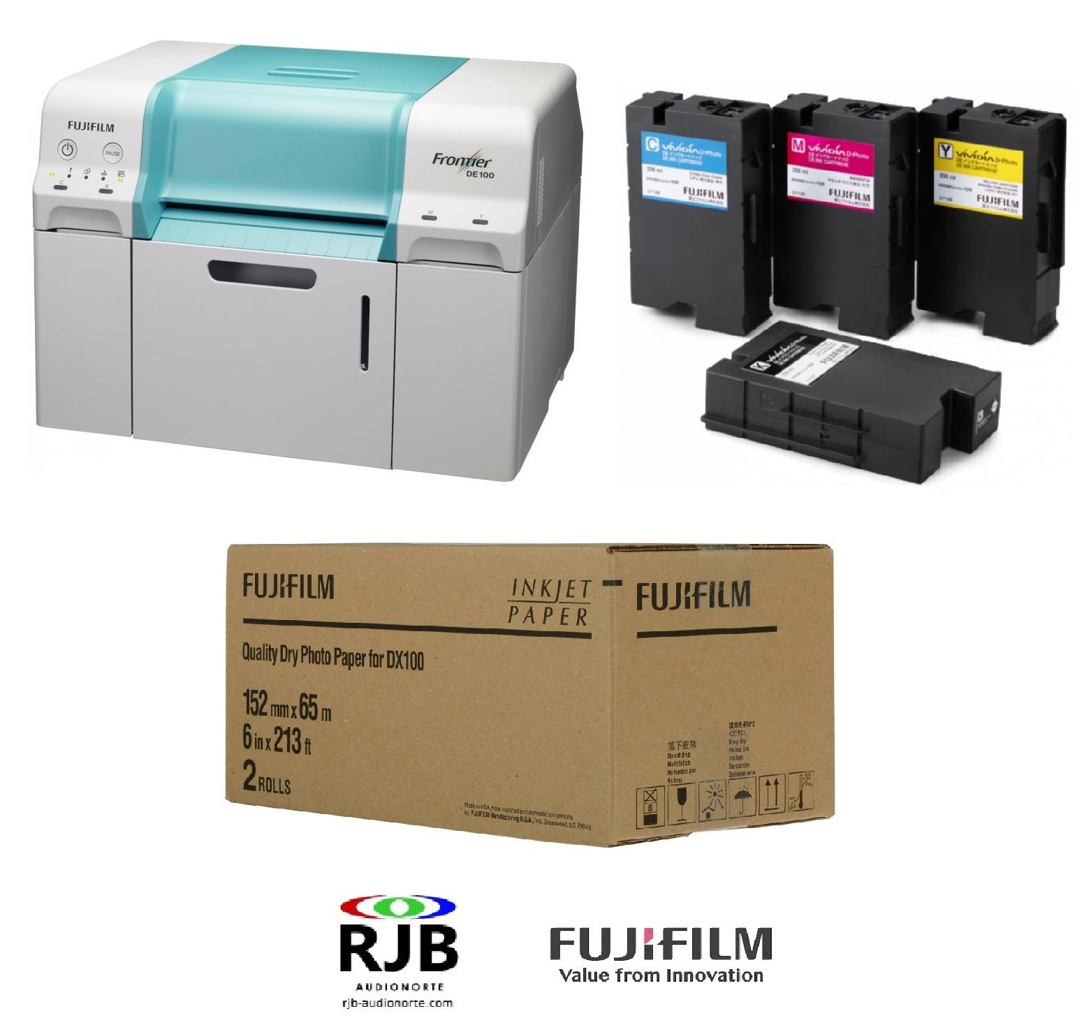 Impresora Fujifilm Frontier DE100 con ¡1 juego de tintas y 14 bobinas papel GRATIS!