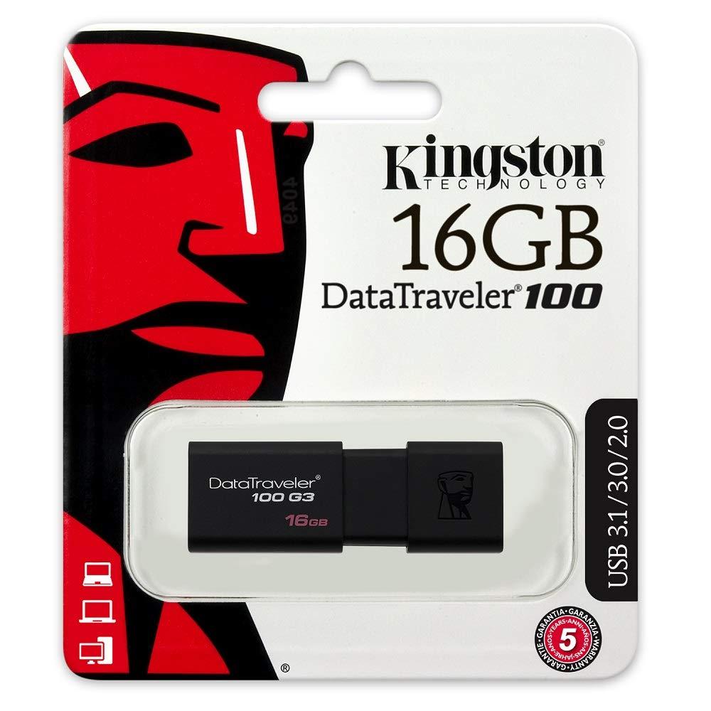 Pendrive Memoria USB 16 GB Kingston DataTraveler 100 G3 USB 3.1/3.0/2.1