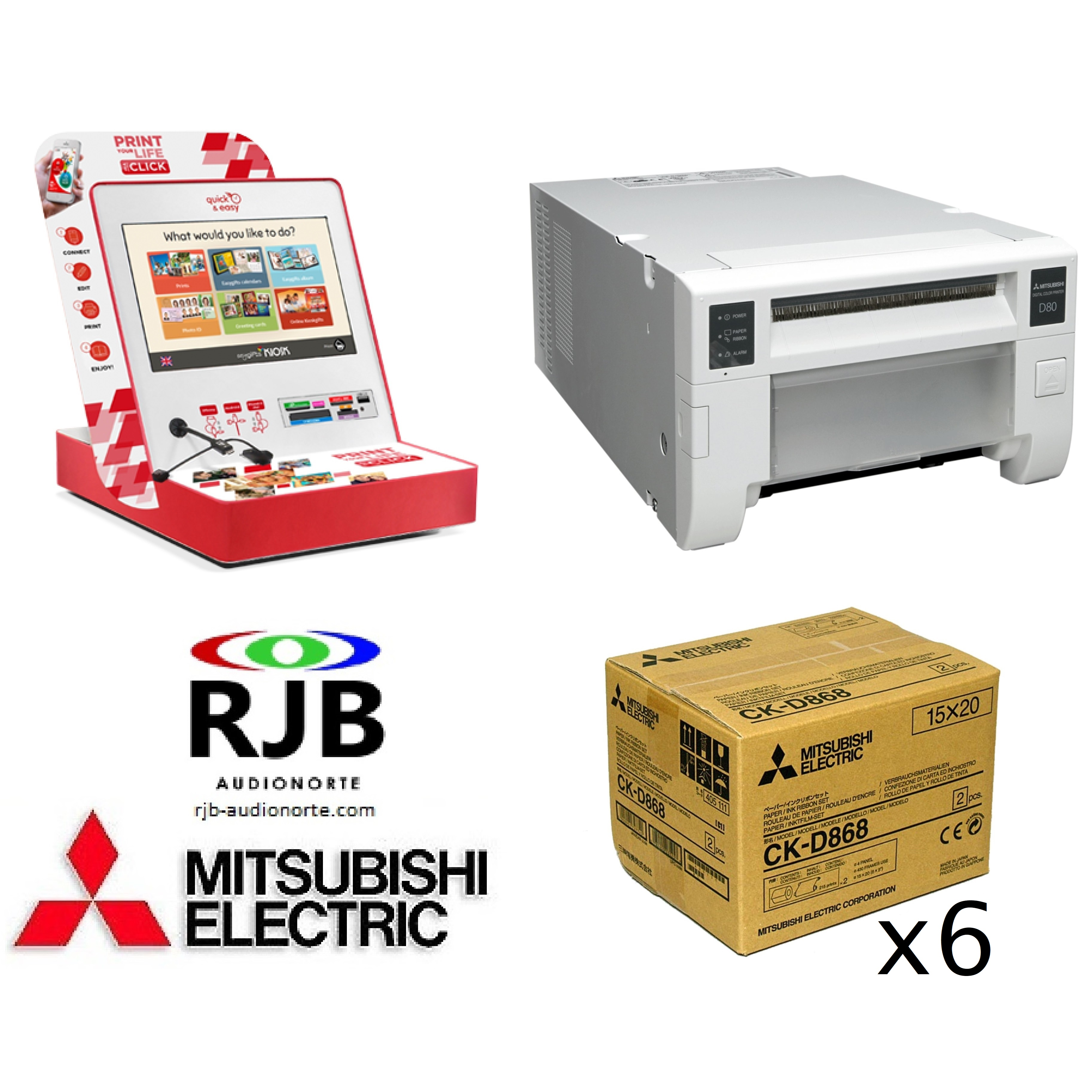 Mitsubishi Smart KioskGifts + Impresora CP-D80DW + 6 Cajas Papel CK-D868 GRATIS