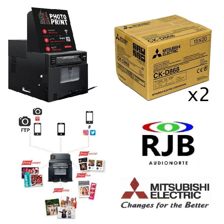 Impresora Mitsubishi Smart D90EV + 1 año PrintSocial GRATIS + 2 Cajas Papel CK-D868 GRATIS